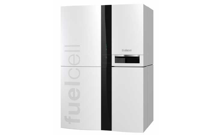 """weiße Brennstoffzelle von """"fuelcell"""" für alternative Energie- und Wärmeerzeugung"""